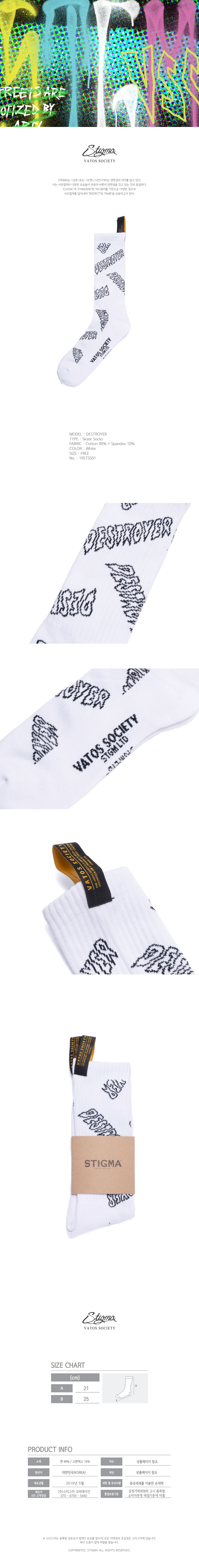 스티그마 STIGMA DESTROYER SKATE SOCKS WHITE